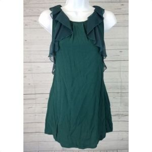 3/25 Free People Top Green Ruffles Pockets